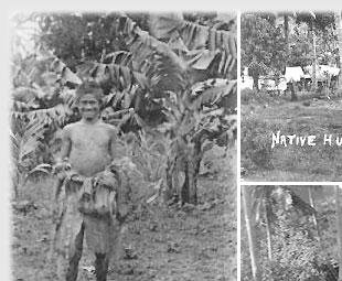 young men in banana plantage, native huts around 1920 - on click to next historic collage
